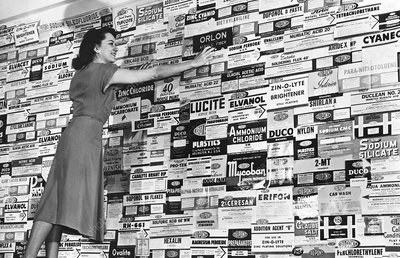 DuPont products label display, 1940s