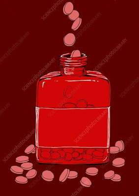 Bottle of pills, illustration