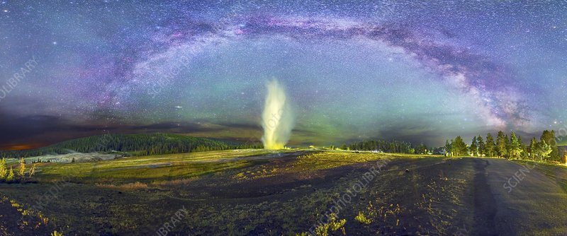 Milky Way over Old Faithful geyser, USA