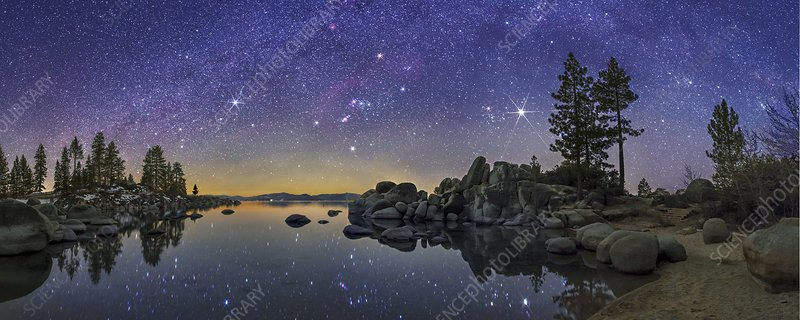 Night sky over Lake Tahoe, USA