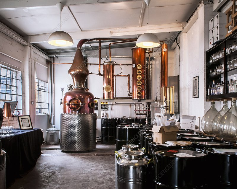 Gin distillery and copper still