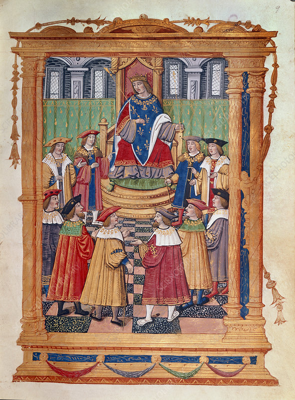 King Louis XI enthroned