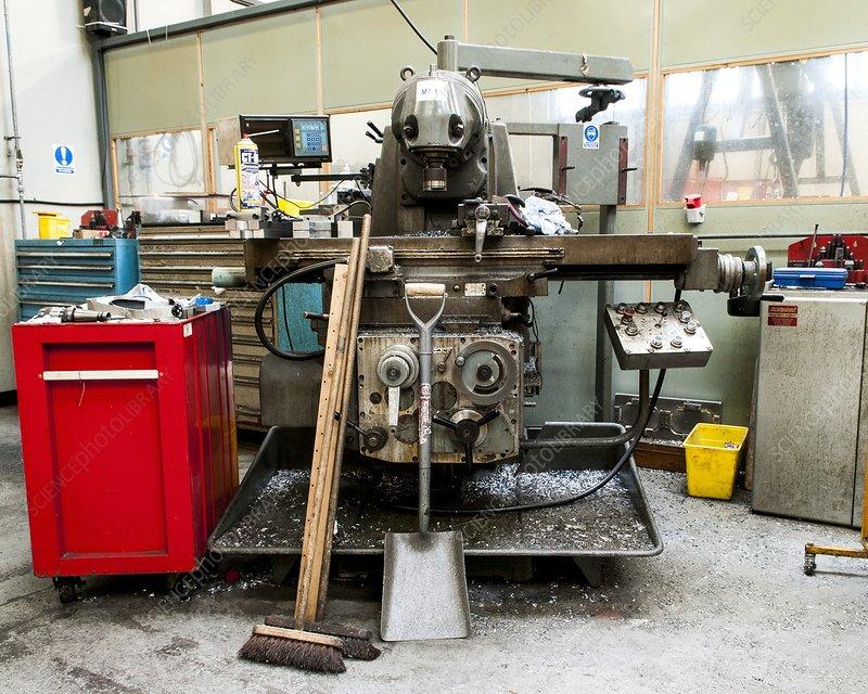 Factory machine in a workshop