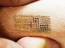 Electronic circuit printed onto skin
