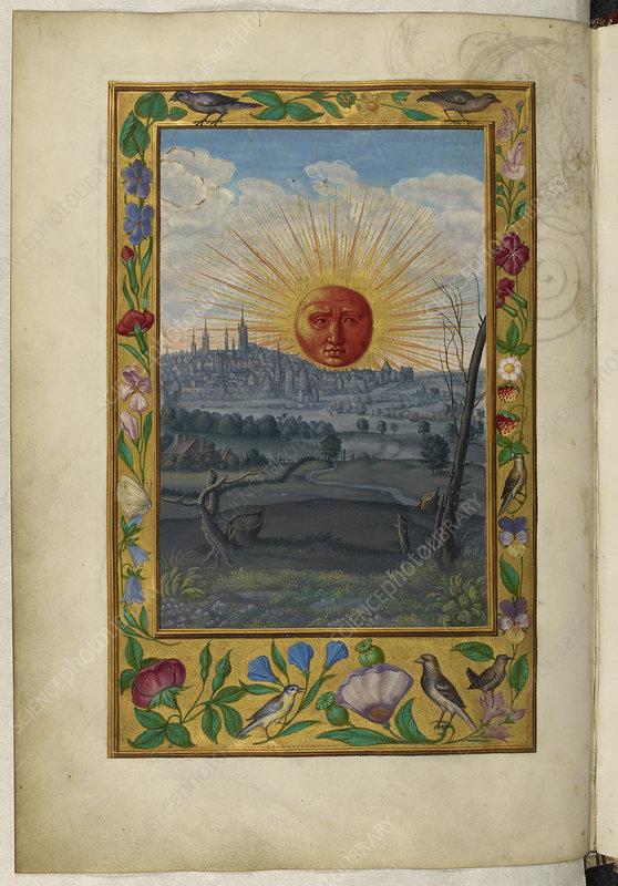 Sun with human face rising