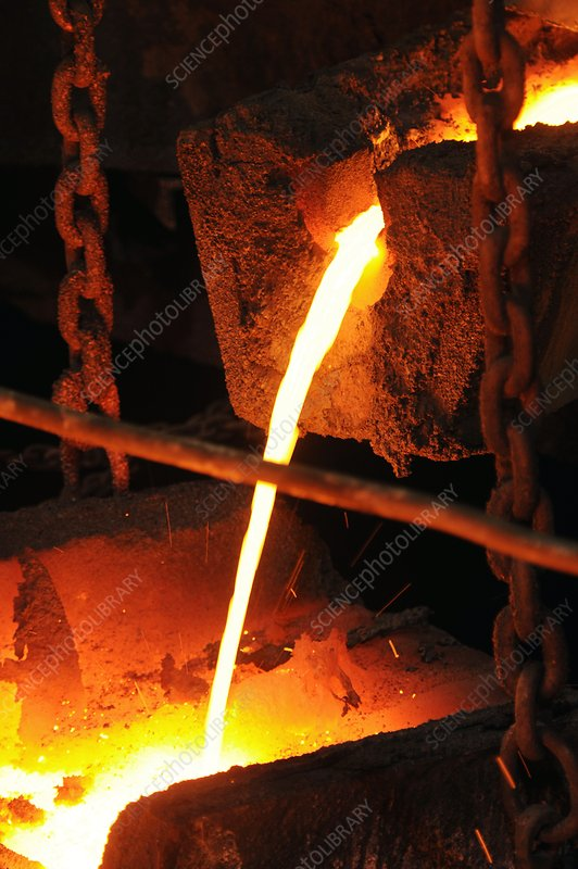 Pouring molten copper at a refinery