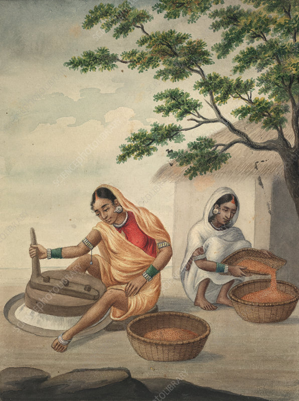 Two women grinding