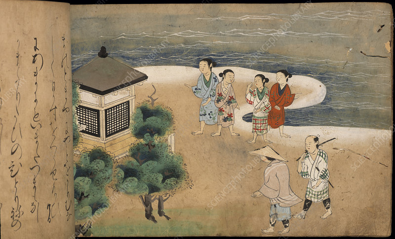 Japanese men by a pagoda