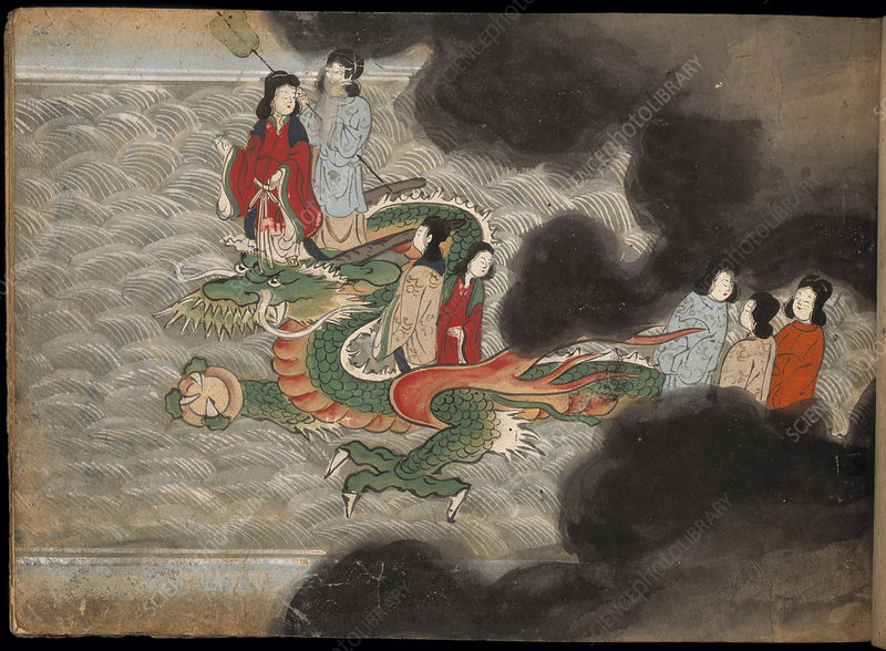 People riding on a dragon