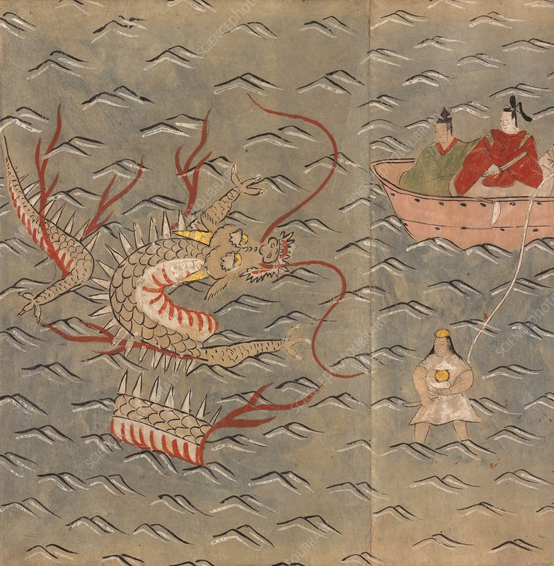 A dragon and woman diver