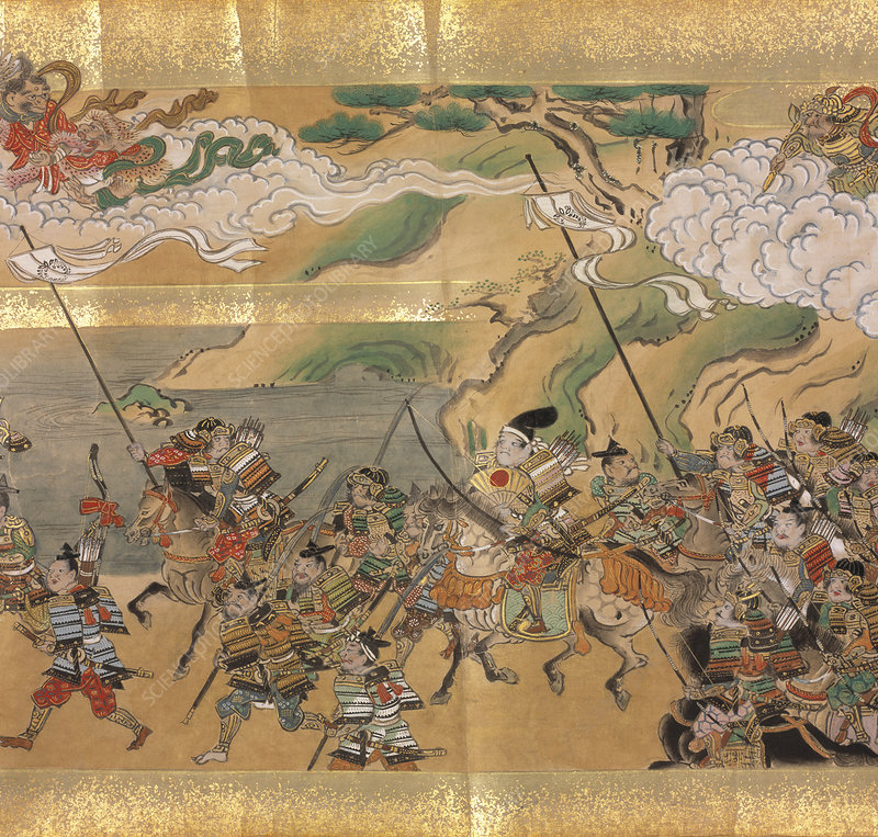 Japanese warriors and goblins