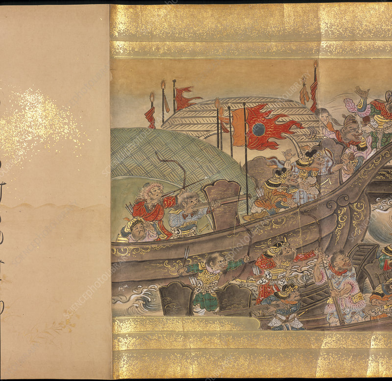 Mongol army on ships