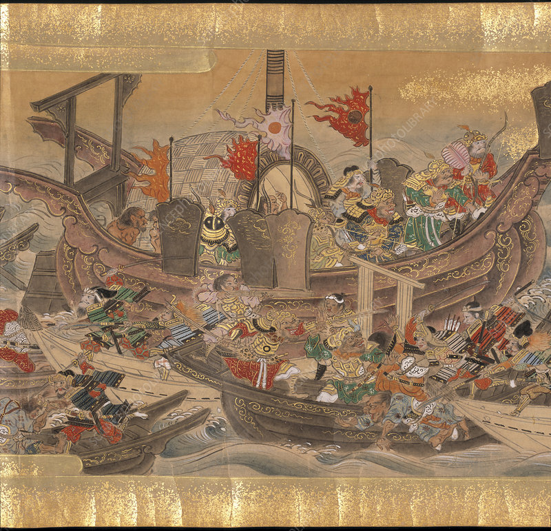 Mongol army and warships