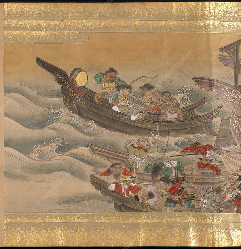 Mongol soldiers on ships