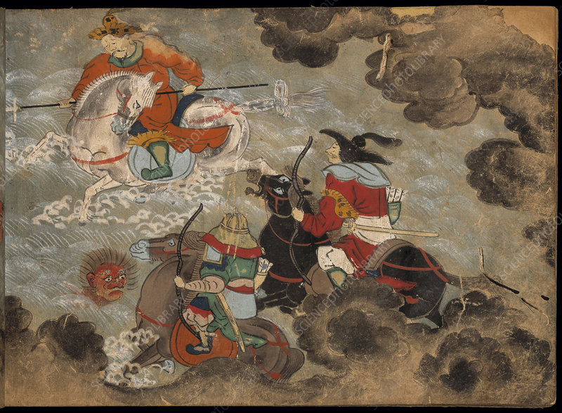 Mounted soldiers fighting demons