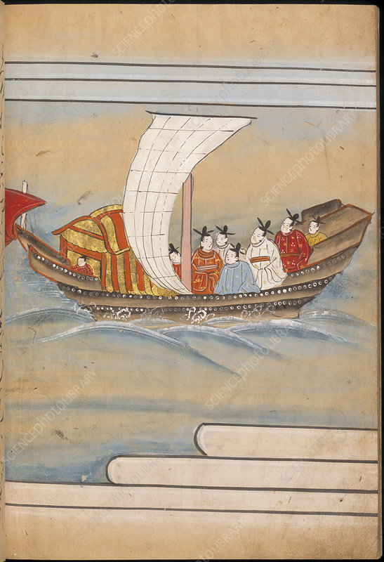 Chinese envoys in a boat