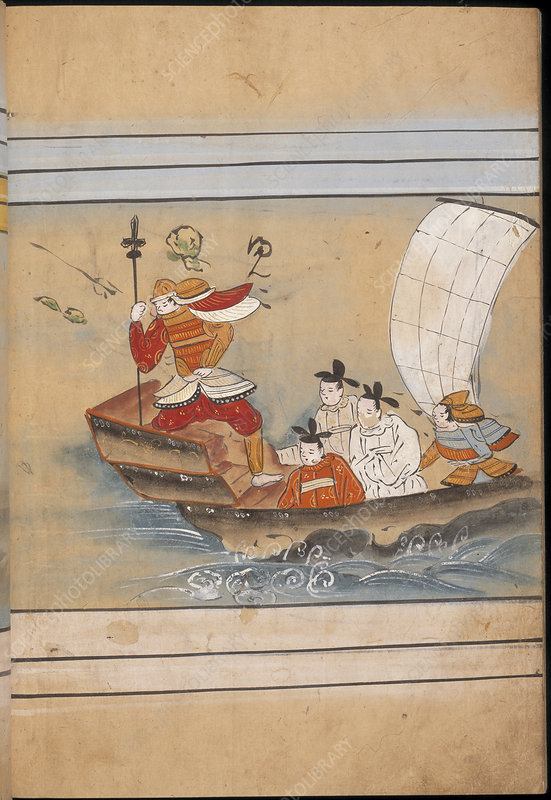 Soldier and envoys in a boat