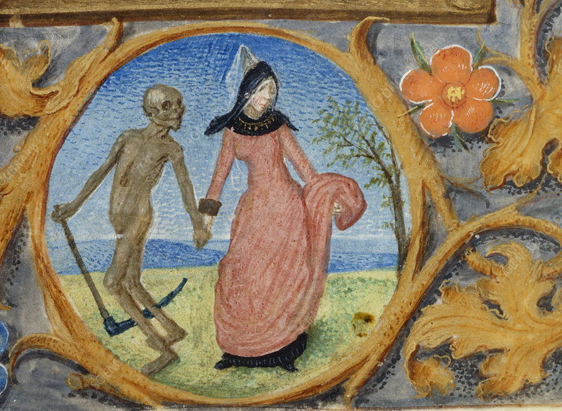 Death leads a lady by the hand