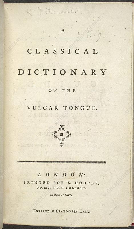 francis grose dictionary of the vulgar tongue pdf