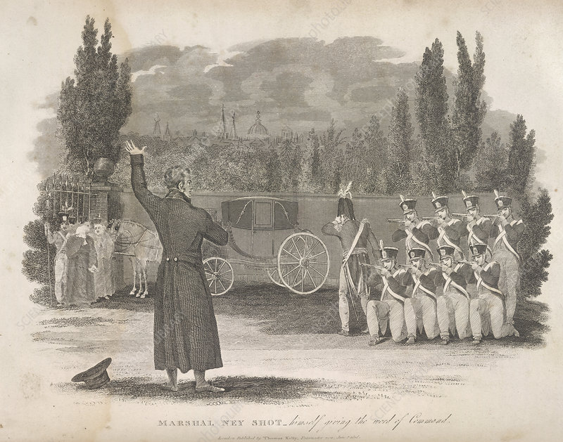 Marshal Ney executed by firing squad