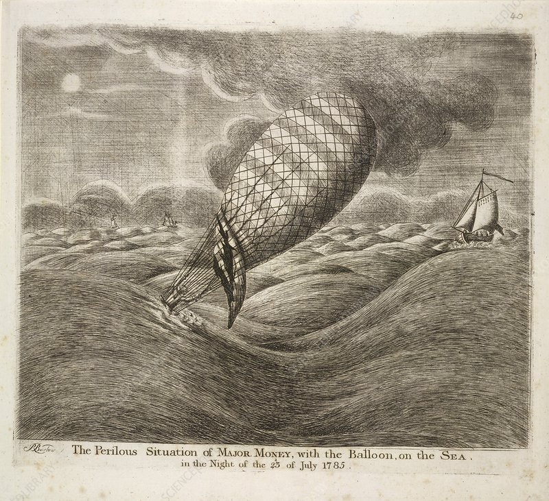 A balloon in danger at sea