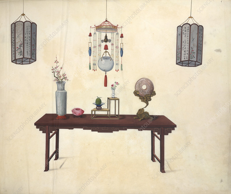 A table and various ornaments