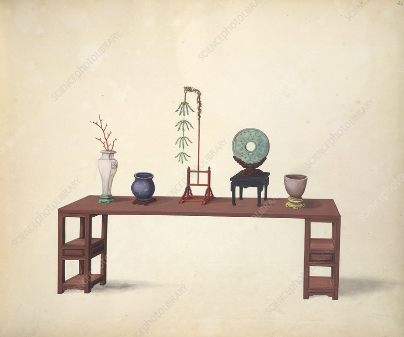 A table and ornaments