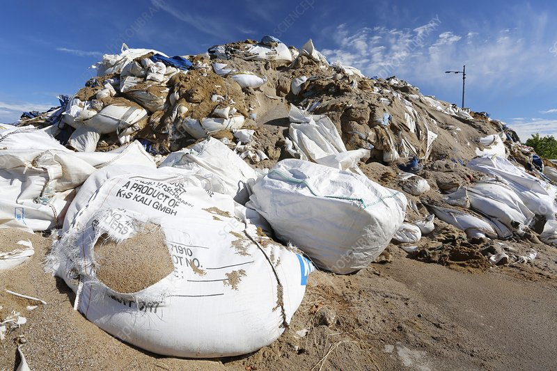 Sandbags in a port after flooding