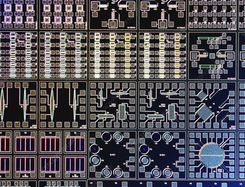 Surface of microchip, light micrograph