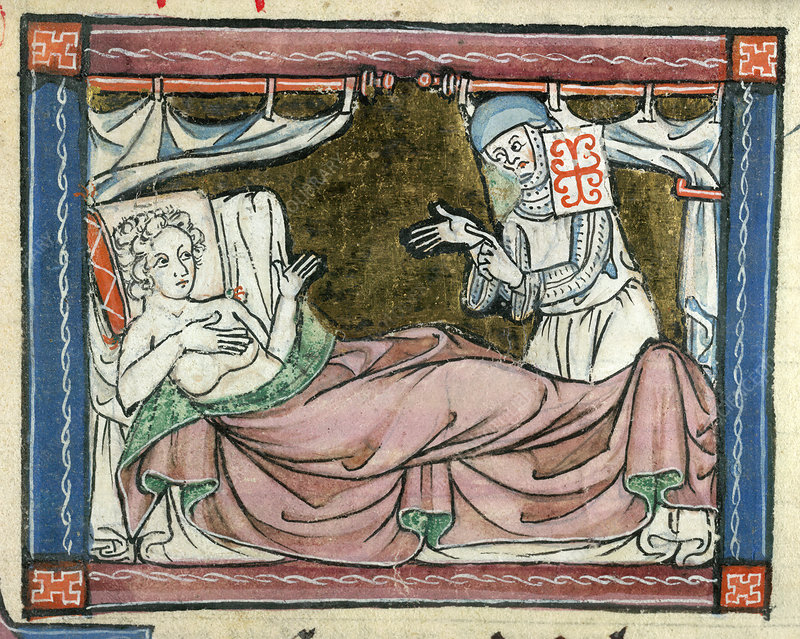 A woman in bed attended by a nun