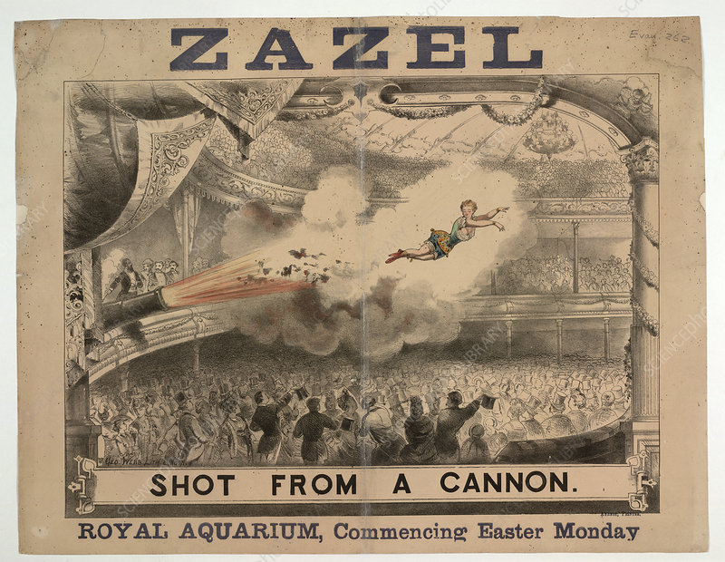 Madame Zazel shot from a cannon