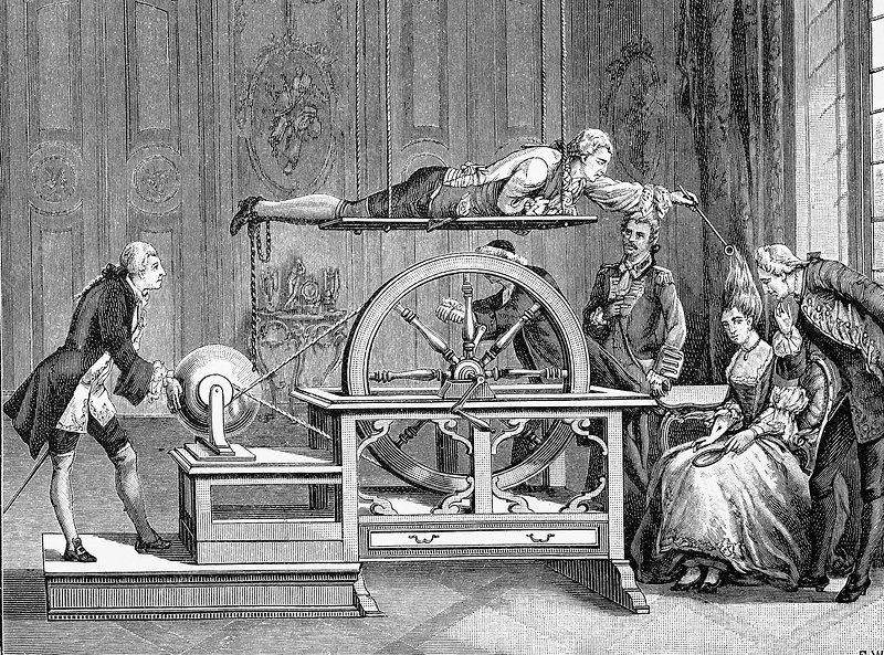 18th Century electricity experiment