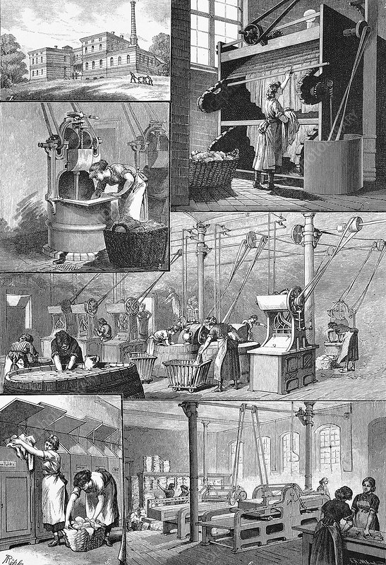 19th Century steam laundry, artwork