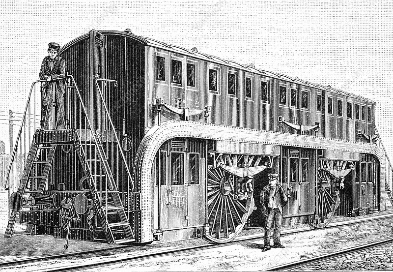 19th Century double-decker train carriage