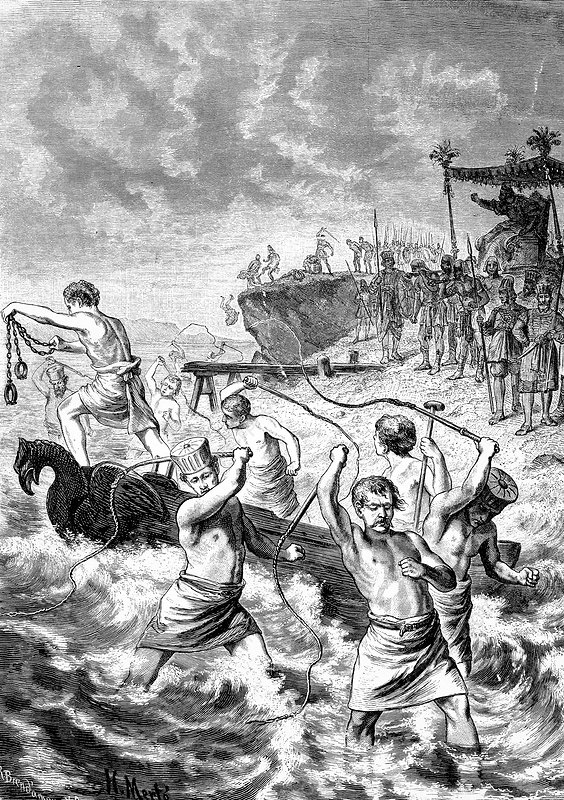 Xerxes whipping the sea, artwork
