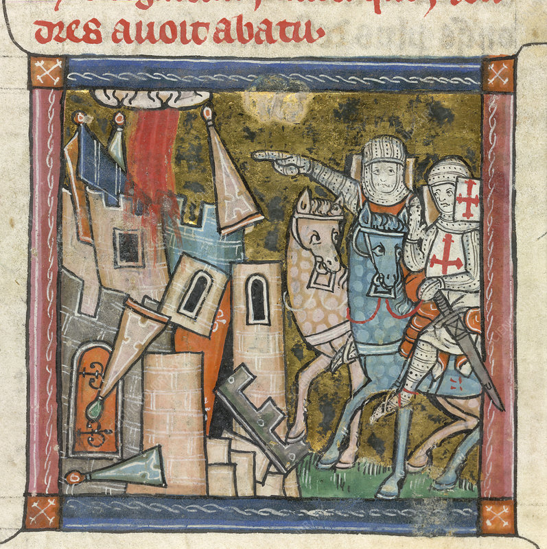 Two knights near a destroyed castle