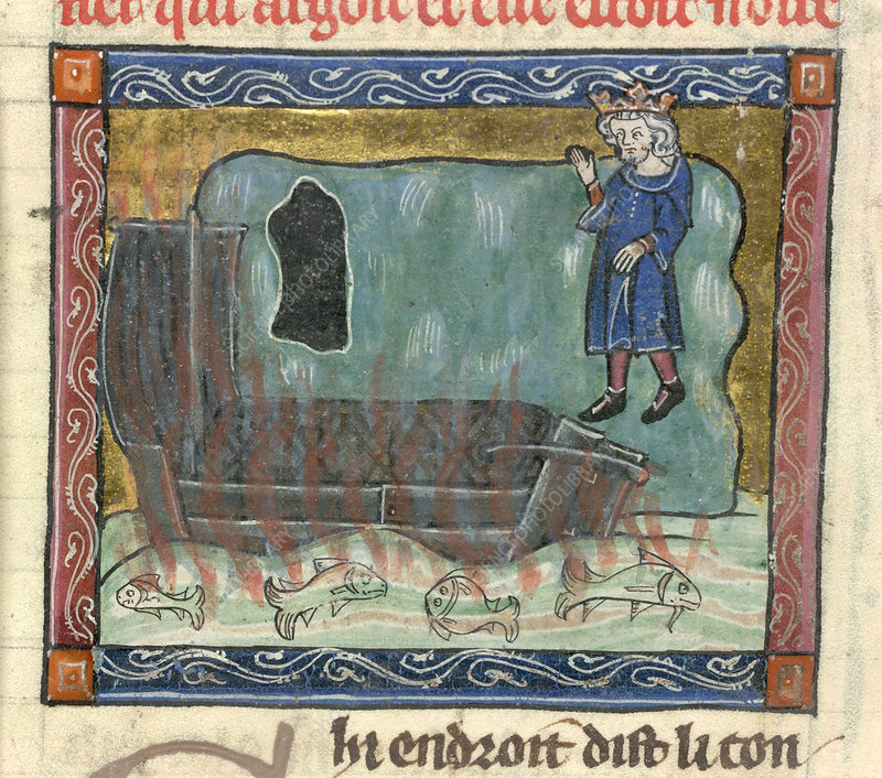 A king. In the foreground, a burning boat