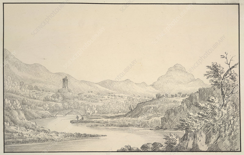 A view, in pencil, on the water of Stinsa