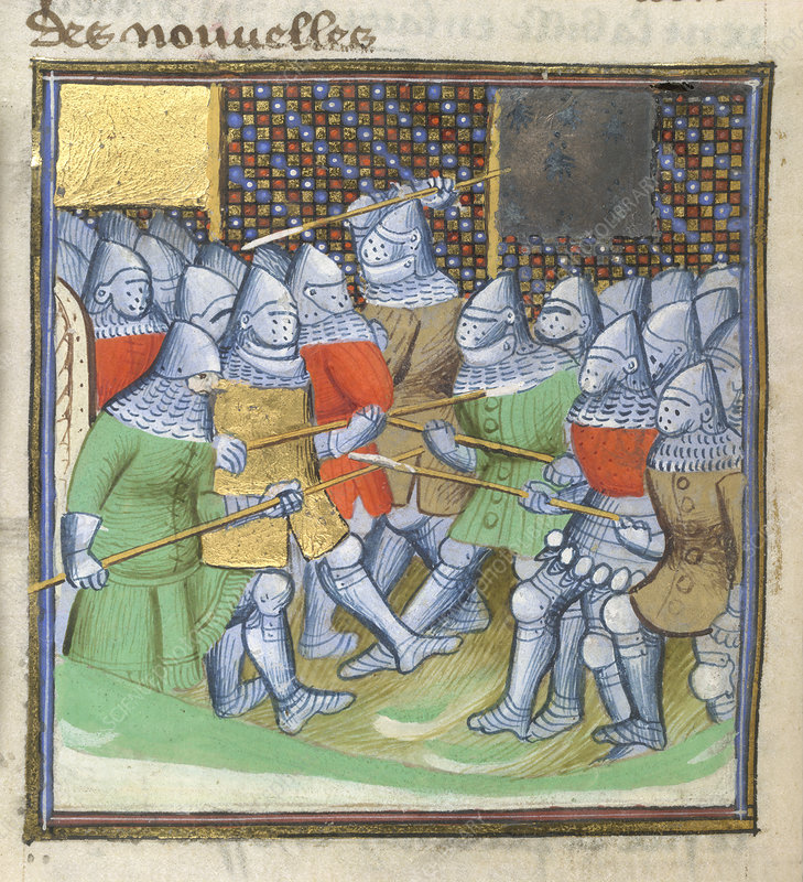 Medieval soldiers fighting