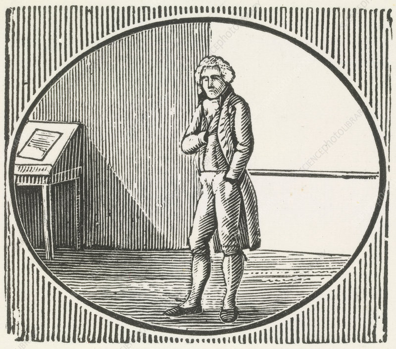 A woodcut of a man standing,