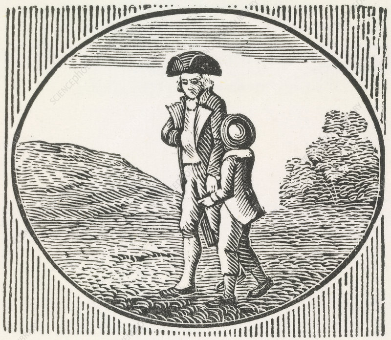 A woodcut of a man and boy walking togeth