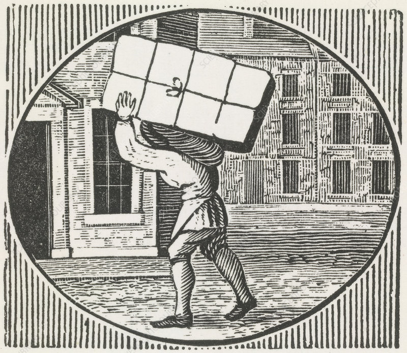 A woodcut of a man carrying a parcel.