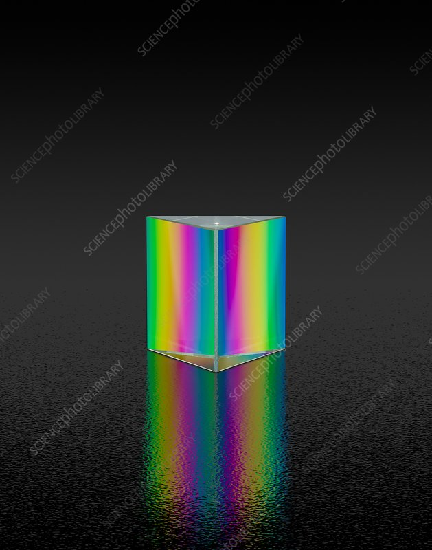 Prism refracting white light