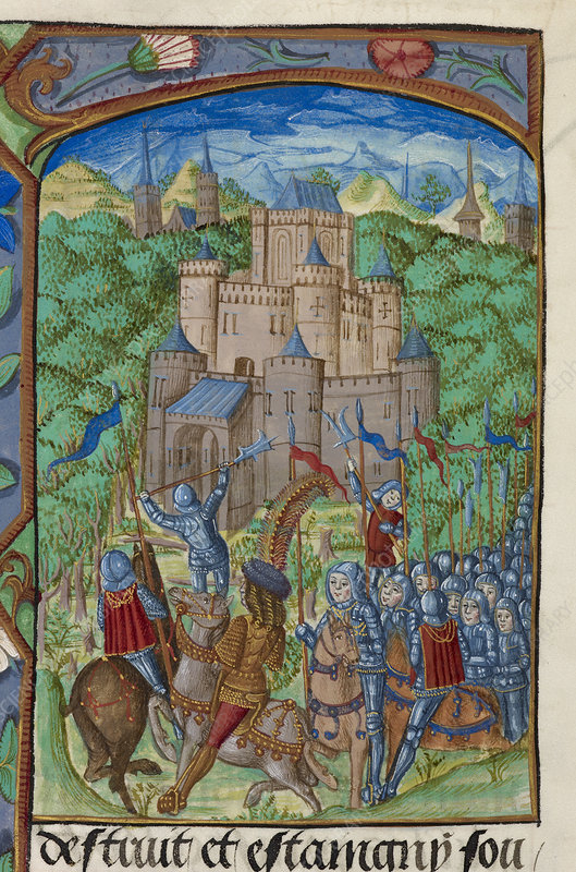 Army laying siege to a castle