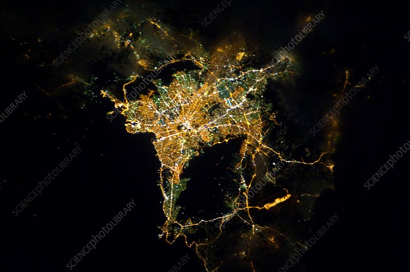 Athens at night, ISS image