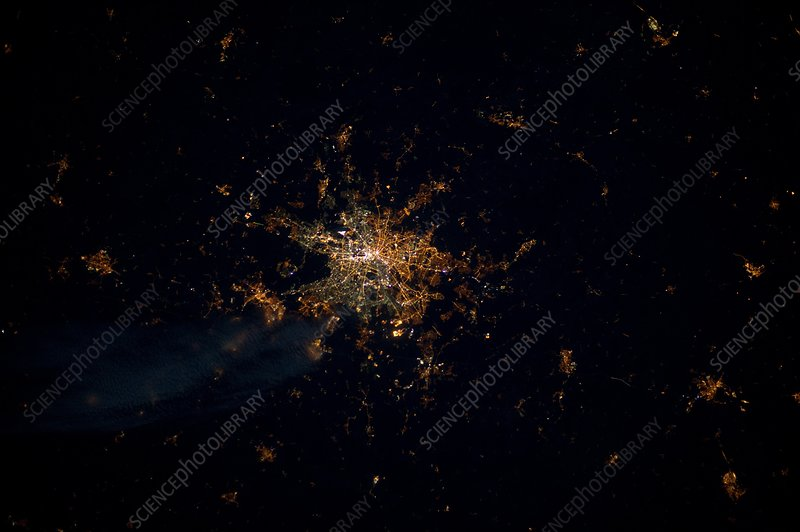 Berlin at night, ISS image