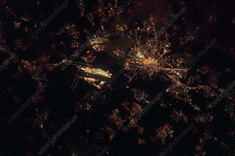 Frankfurt at night, ISS image