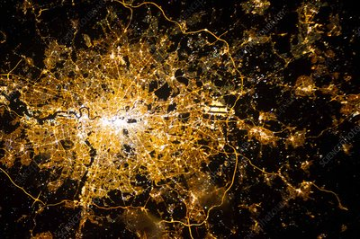 London at night, ISS image