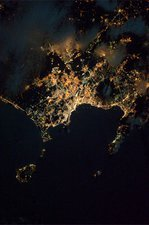 Naples at night, ISS image