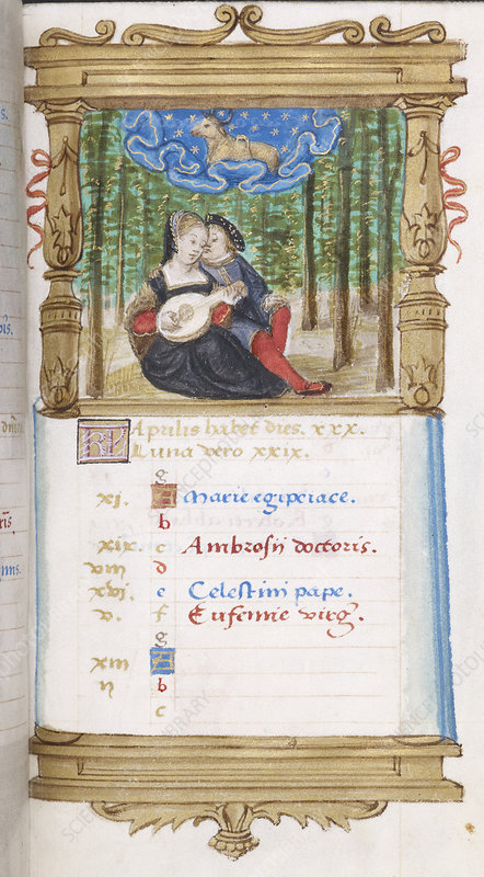 Image of lovers playing the lute together